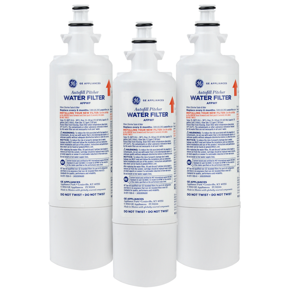GE AFPWF Autofill Pitcher Refrigerator Water Filter, 3-Pack